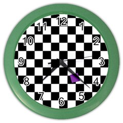 Dropout Purple Check Color Wall Clocks by designworld65