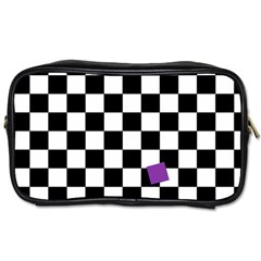 Dropout Purple Check Toiletries Bags 2 Side by designworld65