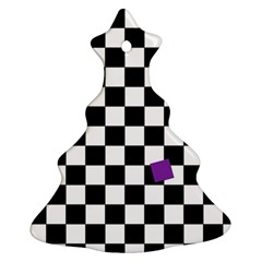 Dropout Purple Check Christmas Tree Ornament (two Sides) by designworld65