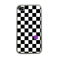 Dropout Purple Check Apple Iphone 4 Case (clear) by designworld65
