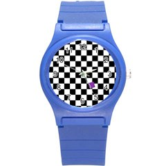 Dropout Purple Check Round Plastic Sport Watch (s) by designworld65