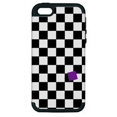 Dropout Purple Check Apple Iphone 5 Hardshell Case (pc+silicone) by designworld65