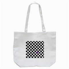 Dropout Purple Check Tote Bag (white) by designworld65
