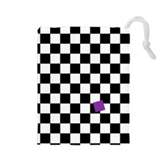 Dropout Purple Check Drawstring Pouches (large)  by designworld65