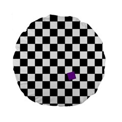 Dropout Purple Check Standard 15  Premium Flano Round Cushions by designworld65