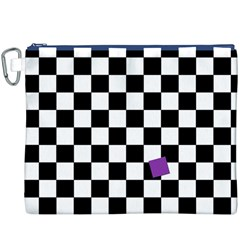 Dropout Purple Check Canvas Cosmetic Bag (xxxl) by designworld65