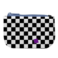 Dropout Purple Check Large Coin Purse by designworld65