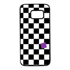 Dropout Purple Check Samsung Galaxy S7 Black Seamless Case by designworld65