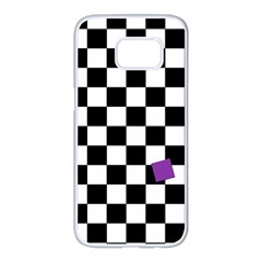Dropout Purple Check Samsung Galaxy S7 Edge White Seamless Case by designworld65