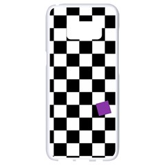 Dropout Purple Check Samsung Galaxy S8 White Seamless Case by designworld65