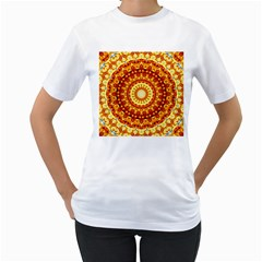 Powerful Love Mandala Women s T Shirt (white) (two Sided) by designworld65