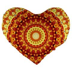 Powerful Love Mandala Large 19  Premium Flano Heart Shape Cushions by designworld65