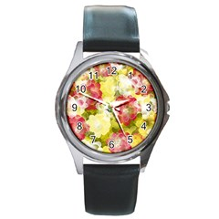Flower Power Round Metal Watch
