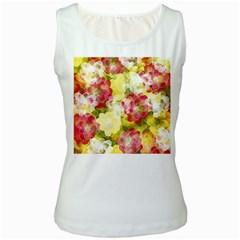 Flower Power Women s White Tank Top