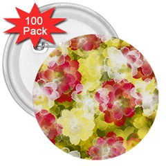 Flower Power 3  Buttons (100 Pack)  by designworld65