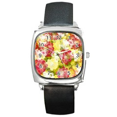 Flower Power Square Metal Watch