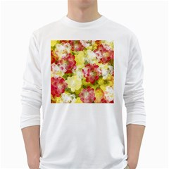 Flower Power White Long Sleeve T Shirts