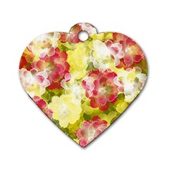 Flower Power Dog Tag Heart (two Sides)