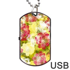 Flower Power Dog Tag Usb Flash (two Sides)