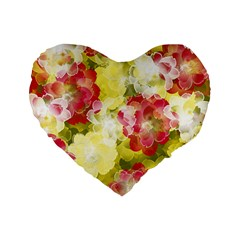 Flower Power Standard 16  Premium Heart Shape Cushions by designworld65