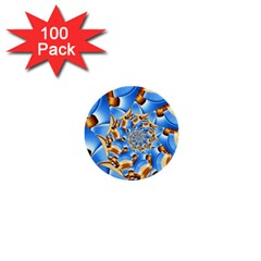Gold Blue Bubbles Spiral 1  Mini Buttons (100 Pack)  by designworld65