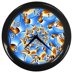 Gold Blue Bubbles Spiral Wall Clocks (black) by designworld65