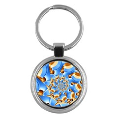 Gold Blue Bubbles Spiral Key Chains (round)  by designworld65