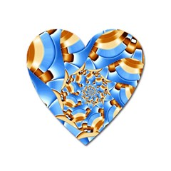 Gold Blue Bubbles Spiral Heart Magnet by designworld65