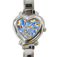 Gold Blue Bubbles Spiral Heart Italian Charm Watch by designworld65