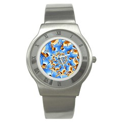 Gold Blue Bubbles Spiral Stainless Steel Watch by designworld65