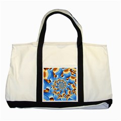 Gold Blue Bubbles Spiral Two Tone Tote Bag by designworld65