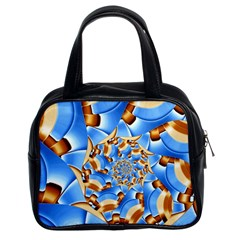 Gold Blue Bubbles Spiral Classic Handbags (2 Sides) by designworld65