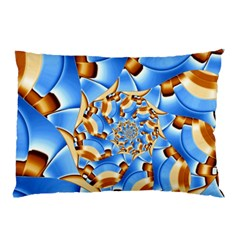 Gold Blue Bubbles Spiral Pillow Case by designworld65