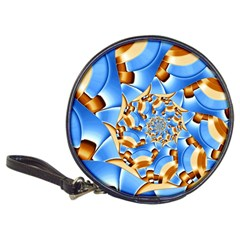 Gold Blue Bubbles Spiral Classic 20 Cd Wallets by designworld65