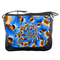 Gold Blue Bubbles Spiral Messenger Bags by designworld65