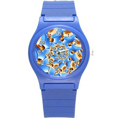 Gold Blue Bubbles Spiral Round Plastic Sport Watch (s) by designworld65