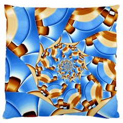 Gold Blue Bubbles Spiral Large Cushion Case (two Sides) by designworld65