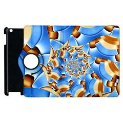 Gold Blue Bubbles Spiral Apple Ipad 3/4 Flip 360 Case by designworld65