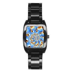 Gold Blue Bubbles Spiral Stainless Steel Barrel Watch by designworld65