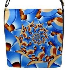 Gold Blue Bubbles Spiral Flap Messenger Bag (s) by designworld65