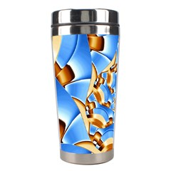 Gold Blue Bubbles Spiral Stainless Steel Travel Tumblers by designworld65