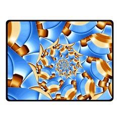 Gold Blue Bubbles Spiral Double Sided Fleece Blanket (small)  by designworld65