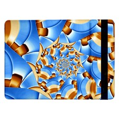 Gold Blue Bubbles Spiral Samsung Galaxy Tab Pro 12 2  Flip Case by designworld65