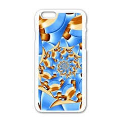 Gold Blue Bubbles Spiral Apple Iphone 6/6s White Enamel Case