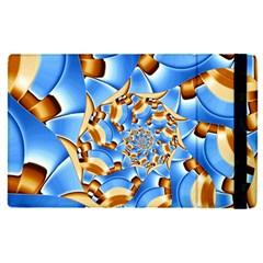Gold Blue Bubbles Spiral Apple Ipad Pro 12 9   Flip Case by designworld65