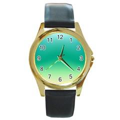 Sealife Green Gradient Round Gold Metal Watch by designworld65