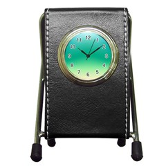 Sealife Green Gradient Pen Holder Desk Clocks by designworld65
