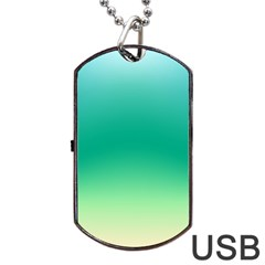 Sealife Green Gradient Dog Tag Usb Flash (one Side)
