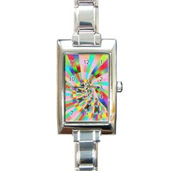 Irritation Funny Crazy Stripes Spiral Rectangle Italian Charm Watch