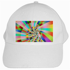 Irritation Funny Crazy Stripes Spiral White Cap by designworld65